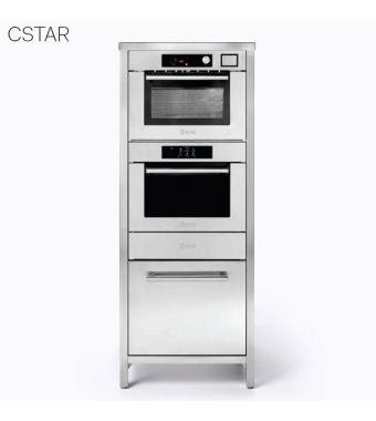 Ilve Colonna Stellata Professional Plus CSTAR/SS comprensivo di forno ultracombi e abbattitore e macchina sottovuoto da 70 cm