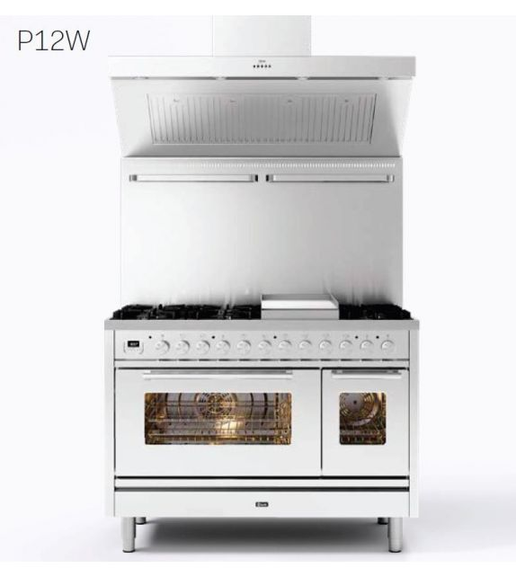 Ilve Cucina P12W Professional Plus P12SWE3 con forno elettrico e piano cottura a 5 fuochi con coupe de feu da 120 cm