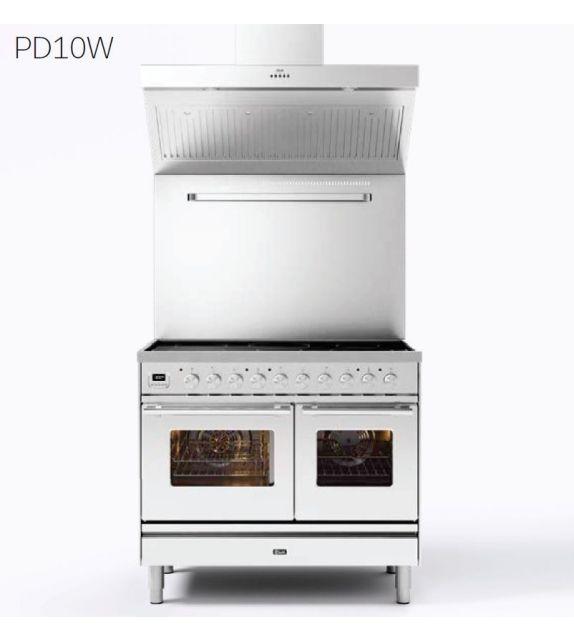 Ilve Cucina PD10W Professional Plus PD10SWE3 con forno elettrico e piano cottura a 4 fuochi con coupe de feu da 100 cm