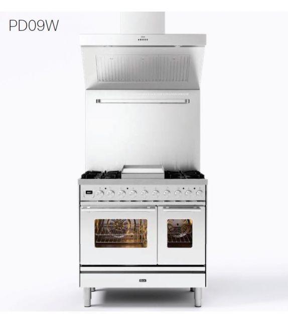 Ilve Cucina PD09W Professional Plus PD09FWE3 con forno elettrico e piano cottura a 6 fuochi con fry top da 90 cm