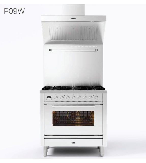 Ilve Cucina P09W Professional Plus P09FWH3 con forno a gas e piano cottura a 6 fuochi con fry top da 90 cm