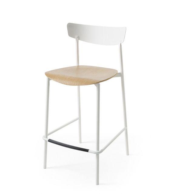Connubia Sgabello Clip CB1972 con struttura in metallo e sedile in multistrato rovere da h. 91 cm