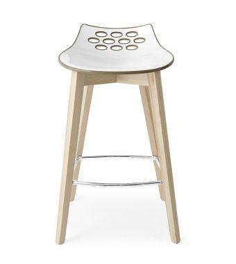 Connubia Sgabello Jam CB1485 con struttura in legno e sedile in policarbonato da h. 77.5 cm