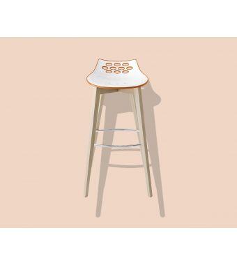 Connubia Sgabello Jam CB1487 con struttura in legno e sedile in policarbonato da h. 92.5 cm