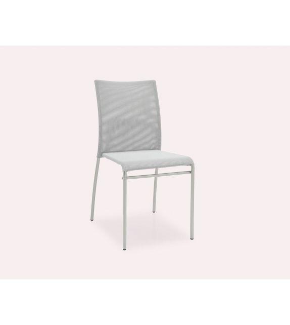 Connubia Sedia Jenny CB1362 con struttura in acciaio satinato e sedile in net da h. 86 cm