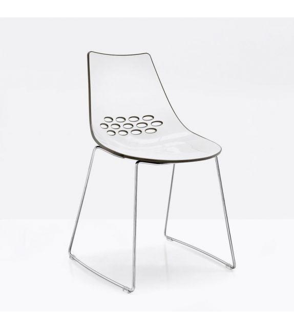 Connubia Sedia Jam CB1030 con struttura in metallo cromao e sedile in policarbonato da h. 82.5 cm