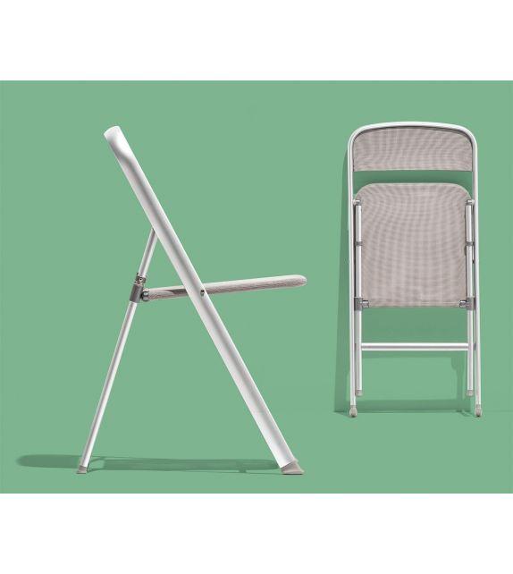 Connubia Sedia pieghevole Alu CB205 con struttura in alluminio satinato e sedile in net grigio da h. 85 (96) cm