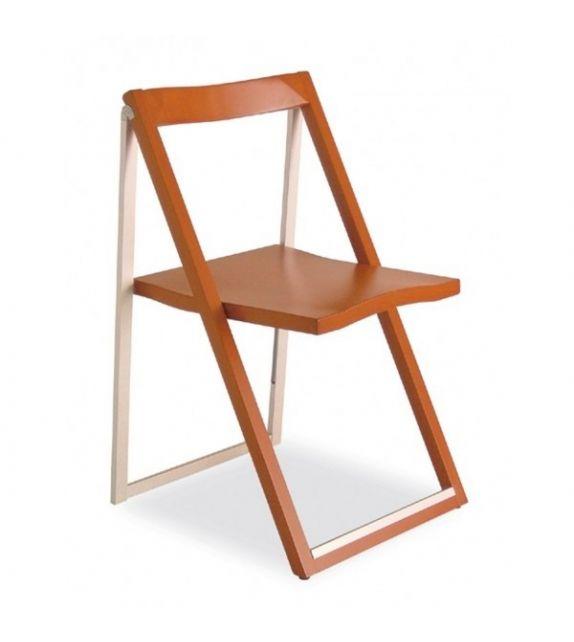 Connubia Sedia pieghevole Skip CB207 con struttura in faggio e alluminio e sedile in multistrato faggio da h. 80 (91) cm
