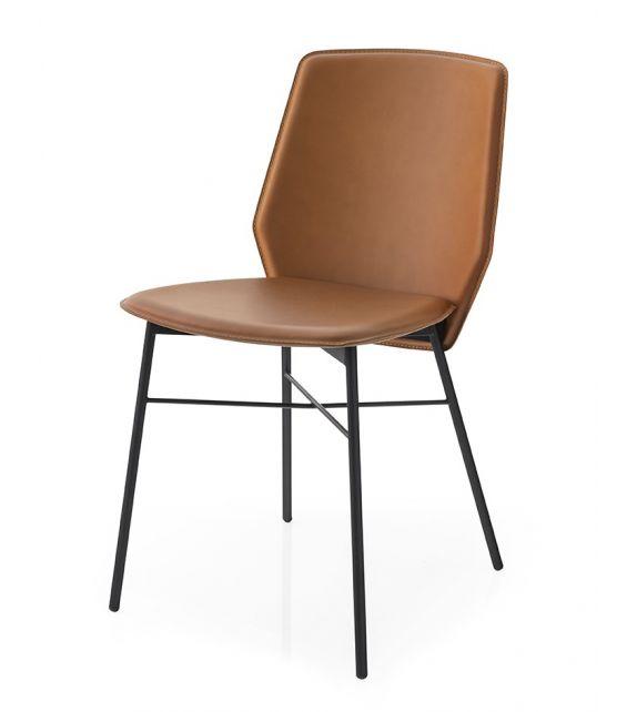 Connubia Sedia Sibilla CB1959 con struttura in metallo e sedile in rigenerato di cuoio da h. 83 cm