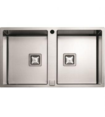 Fulgor Lavello a 2 vasche semifilo/filotop P2B 8651 QA F-SF finitura acciaio inox da 86,5x51cm