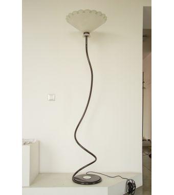 Minitallux Lampada da terra 1xE27 in vetro bianco decoro verde by Marchetti