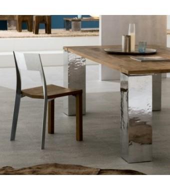 Sedia Alki Elite in fusione di alluminio lucido e massello in teak d'eopca
