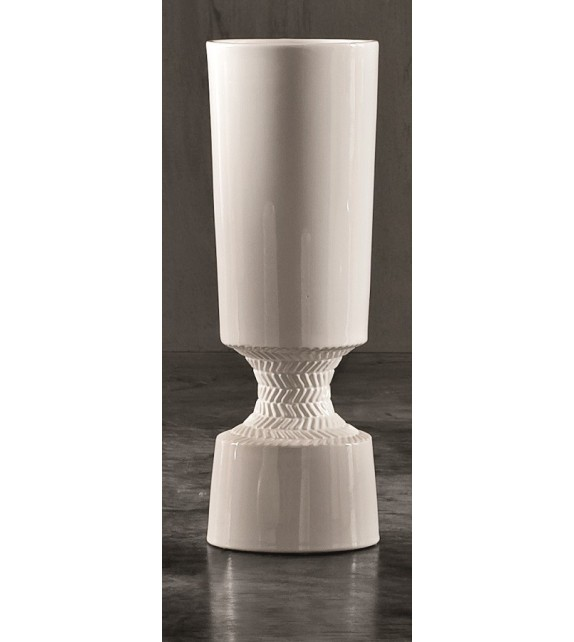 Vaso in Ceramica Dame Bianco/Trotora H.56 Diam.16 cm Elite