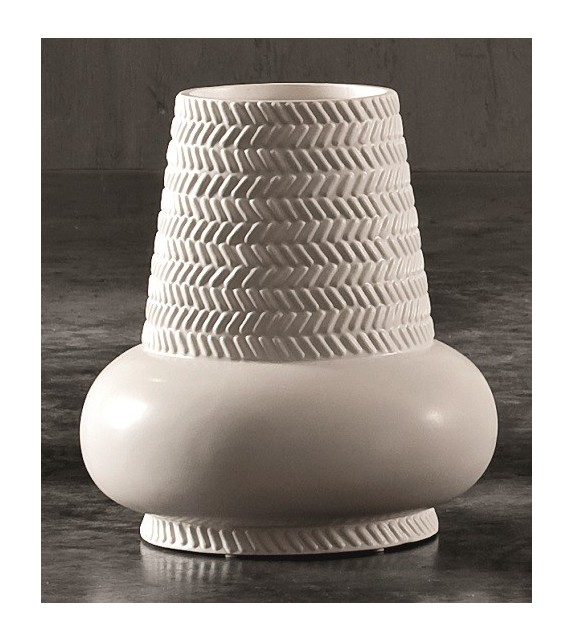 Vaso in Ceramica Dame H.27 Diam.18 cm Bianco Elite