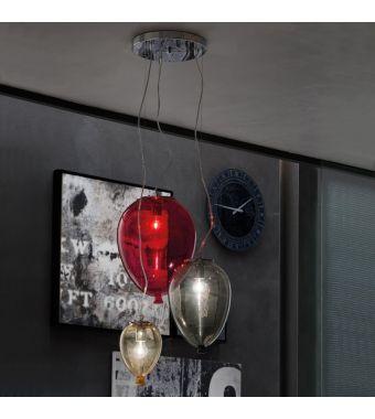 Adriani & Rossi 3 lampade a sospensione Mongolfiera in vetro