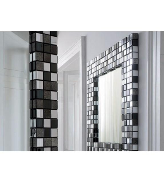 Specchiera Quadrata Naomi Elite 123x6x123 cm con pietra Greenstone e vetro nero