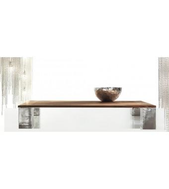 Tavolino Fisso Alki da 100x100xH. 30 con Piano di Teak d'Epoca Elite