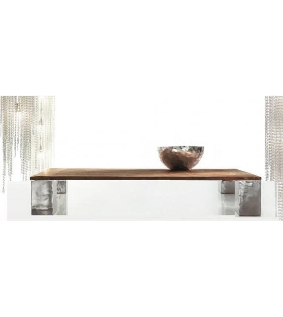 Tavolino Fisso Alki da 140x140xH. 30 con Piano di Teak d'Epoca Elite