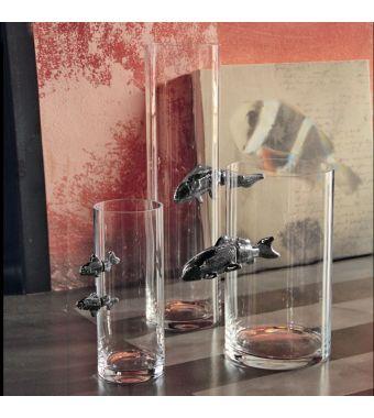 Adriani & Rossi Vaso in Vetro Illusion Medium con 1 Pesce in Peltro