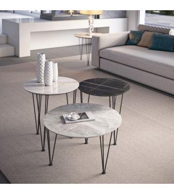 Maconi Tavolino Piramide 1062-G con piano in gres da 46 cm e h. 47 cm serie Coffee Table collection
