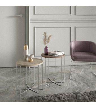 Maconi Tavolino rotondo Silver 1087 con piano in legno da 46 cm e h. 48 cm serie Coffee Table collection
