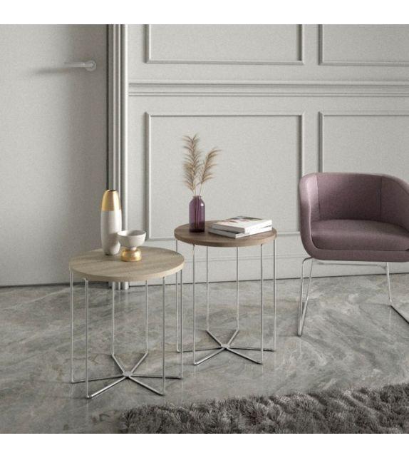 Maconi Tavolino rotondo Silver 1088 con piano in legno da 46 cm e h. 53 cm serie Coffee Table collection