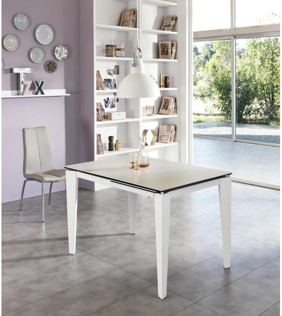 Stones Tavolo allungabile Ceramica 2 OM/312/BI finitura bianco