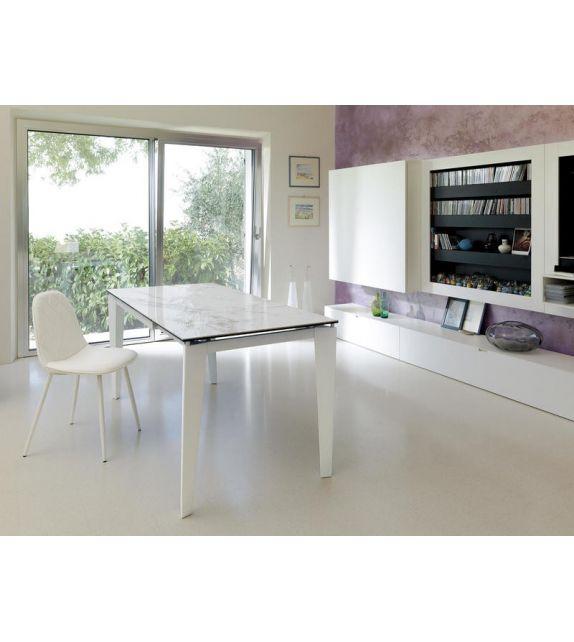 Stones Tavolo allungabile Ceramica 2 OM/312/MB finitura marmo bianco