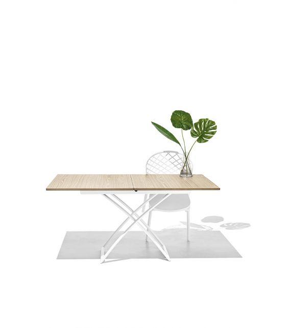 Connubia Tavolino trasformabile Magic-J CB5041-W con gambe in metallo e piano in legno da 110x75(150) cm