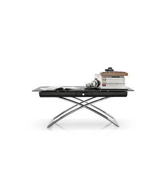 Connubia Tavolino trasformabile Magic-J CB5041-G con gambe in metallo e piano in vetro da 115(150)x75 cm