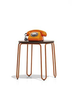 Connubia Tavolino rotondo Stulle CB5209-P con struttura in metallo e piano in nobilitato da 40 cm