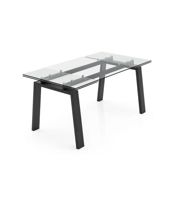 Connubia Tavolo Allungabile Zeffiro Cb4798 R 140 Con Piano In Vetro Trasparente Da 140 220 X90 Cm Tavoli Tavoli Allungabili