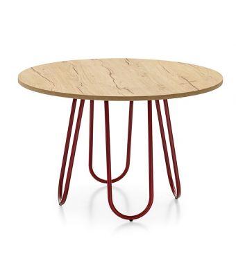 Connubia Tavolo rotondo fisso Stulle Table CB4806-FD 120 con basamento in metallo da 120 cm