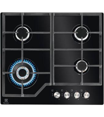 Electrolux Piano cottura a gas PVN 642 UOV in cristallo temprato nero e manopole inox da 60 cm