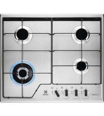 Electrolux Piano cottura a gas KGS 6434 XX finitura inox EasyClean e manopole inoxe dettaglio nero da 60 cm