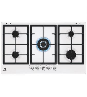 Electrolux Piano cottura a gas KGS 9536 W finitura bianco e manopole inox da 90 cm