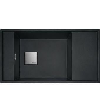 Franke Lavello una vasca con gocciolatoio Fresno Filotop/Sottotop FSG 611-87 114.0649.450 finitura fragranite nero da 87,7x49,5 cm