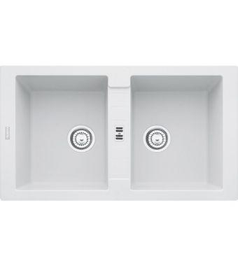 Franke Lavello due vasche Maris MRG 620 114.0153.947 finitura fragranite bianco da 86x50 cm