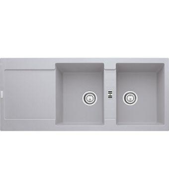 Franke Lavello due vasche con gocciolatoio Maris MRG 621 114.0150.195 finitura fragranite alluminio da 116x50 cm