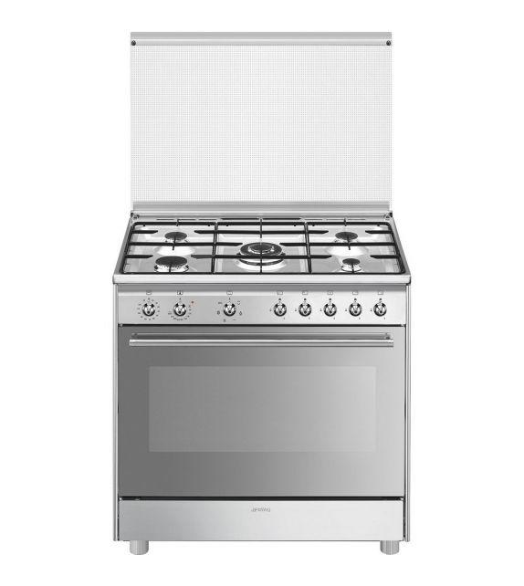 Smeg Cucina SX91SV9 con forno ventilato e piano cottura a gas finitura acciaio inox da 90x60 cm