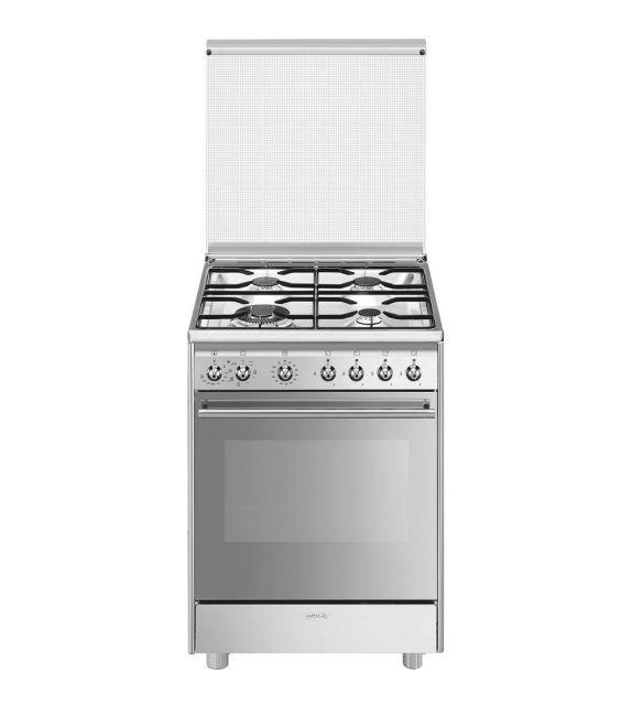 Smeg Cucina CX68M8-1 con forno termoventilato e piano cottura a gas finitura acciaio inox da 60x60 cm