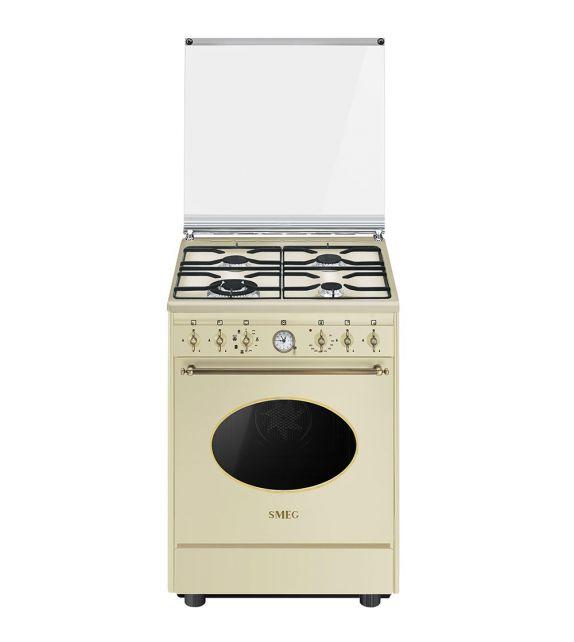 Smeg Cucina CO68GMP9 con forno termoventilato e piano cottura a gas finitura panna da 60x60 cm