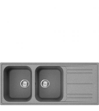 Smeg Lavello a due vasche con gocciolatoio LZ116CT finitura cemento da 116 cm