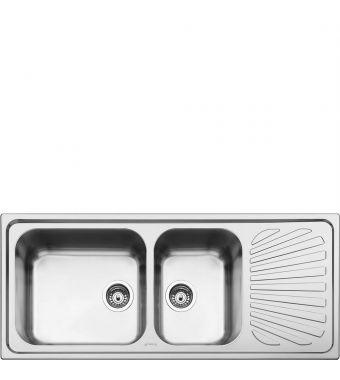 Smeg Lavello a due vasche con gocciolatoio a destra SG116D finitura acciaio inox spazzolato da 116 cm