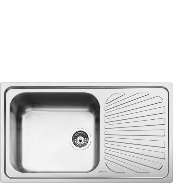 Smeg Lavello ad una vasca con gocciolatoio a destra SG861D finitura acciaio inox spazzolato da 86 cm