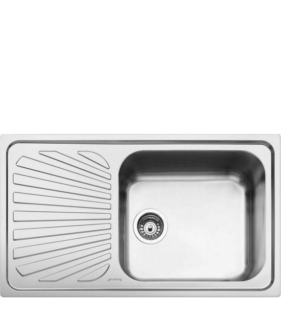 Smeg Lavello ad una vasca con gocciolatoio a sinistra SG861S finitura acciaio inox spazzolato da 86 cm