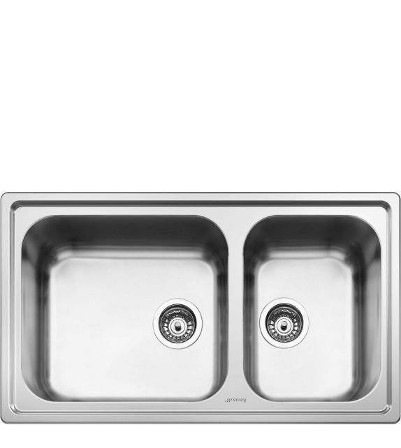 Smeg Lavello a due vasche SG862 finitura acciaio inox spazzolato da 86 cm