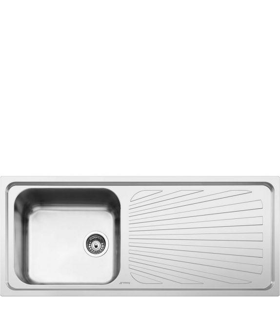 Smeg Lavello ad una vasca con gocciolatoio a destra SGE116.1D finitura acciaio inox spazzolato da 116 cm