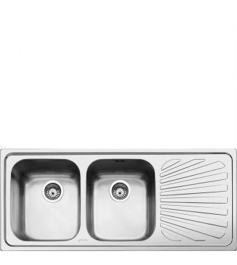 Smeg Lavello a due vasche con gocciolatoio a destra SP116D finitura acciaio inox spazzolato da 116 cm