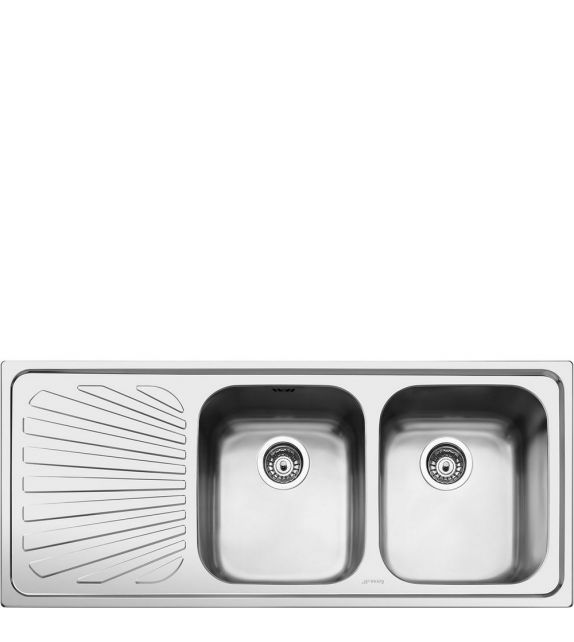 Smeg Lavello a due vasche con gocciolatoio a sinistra SP116S finitura acciaio inox spazzolato da 116 cm
